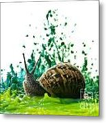 Paint Sculpture And Snail  Metal Print