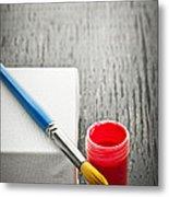 Paintbrush On Canvas Metal Print