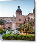 Palermo Cathedral At Dusk, Sicily Italy Metal Print