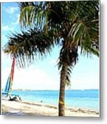 Palm Tree And Sailboat Metal Print