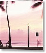 Palm Trees On The Beach, Waikiki Metal Print