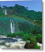 Panoramic View Of Iguazu Waterfalls Metal Print