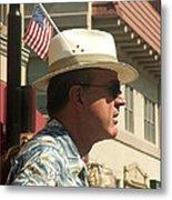 Parade Watcher Flag In Hat July 4th Prescott Arizona 2002 Metal Print