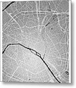 Paris Street Map - Paris France Road Map Art On Colored Backgrou Metal Print