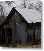 Patchwork Barn With Icicles Metal Print