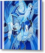 Peace On Earth Greetings With Doves  Metal Print