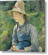 Peasant Girl With A Straw Hat Metal Print