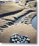 Pebble Beach Heart Metal Print