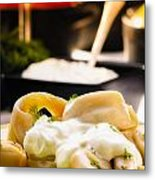 Pelmeni Dumplings With Fennel And Smetana Sour Cream Metal Print