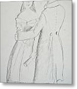 Pencil Sketch Of Couple In Love Metal Print