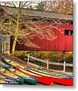 Pennsylvania Country Roads - Bowmansdale - Stoner Covered Bridge Over Yellow Breeches Creek - Autumn Metal Print