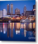 Peoria Illinois Skyline At Night Metal Print