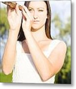 Person With Monocular Metal Print