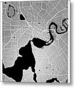 Perth Street Map - Perth Australia Road Map Art On Colored Backg Metal Print