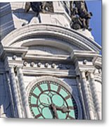 Philadelphia City Hall Clock Metal Print