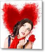 Photo Of Romantic Woman Holding Heart Shape Candy Metal Print