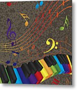 Piano Wavy Border With 3d Colorful Keys And Music Note Metal Print