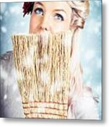 Pin-up Woman Cleaning Up In Cold Blue Winter Snow Metal Print
