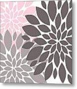 Pink Gray Peony Flowers Metal Print