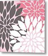 Pink White Grey Peony Flowers Metal Print