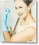 Pinup Housewife Flexing Muscles. Cleaning Strength Metal Print