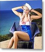 Pinup Woman On A Tropical Beach Travel Tour Metal Print