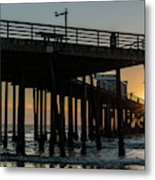 Pismo Beach Pier At Sunset, San Luis Metal Print