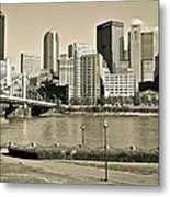Pittsburgh In Sepia Metal Print