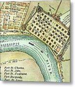 Plan Of New Orleans, 1798 Metal Print