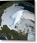 Planet Earth Showing Sea Ice Coverage Metal Print