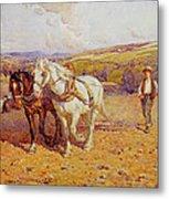 Ploughing Metal Print by Joseph Harold Swanwick