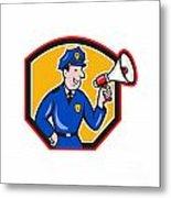 Policeman Shouting Bullhorn Shield Cartoon Metal Print