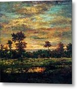 Pond At The Edge Of A Wood Metal Print