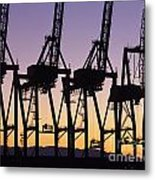 Port Of Seattle Cranes Silhouetted Metal Print