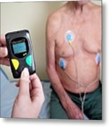 Portable Ecg Monitor Being Fitted Metal Print