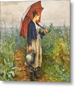 Portrait Of A Woman With Umbrella Gathering Water Metal Print