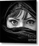 Portrait Of Beautiful Arab Woman With Brown Eyes Wearing Black S Metal Print