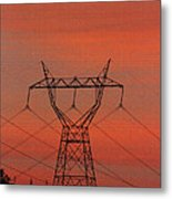 Power Lines Just After Sunset Metal Print