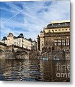 Prague From Vltava Metal Print
