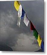 Prayer Flags Stormy Day Metal Print