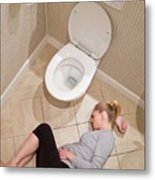 Pregnant Woman Lying On Bathroom Floor Metal Print