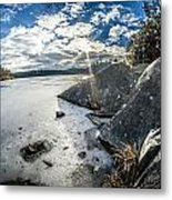 Price Lake Frozen Over During Winter Months In North Carolina Metal Print