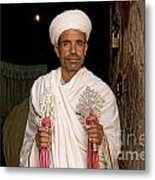 Priest At Ancient Rock Hewn Churches Of Lalibela Ethiopia Metal Print
