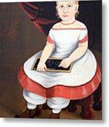 Prior Hamblin School's Little Girl With Slate Metal Print