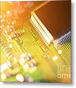 Processor Chip On Circuit Board Metal Print