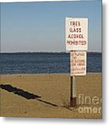 Prohibited Items Sign At Sandy Point Metal Print