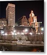 Providence Rhode Island Skyline At Night Metal Print