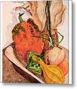 Pumpkin In Bowl Metal Print