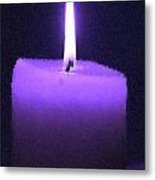 Purple Lit Candle Metal Print