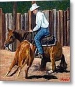 Quarter Horse Cutting Horse Metal Print